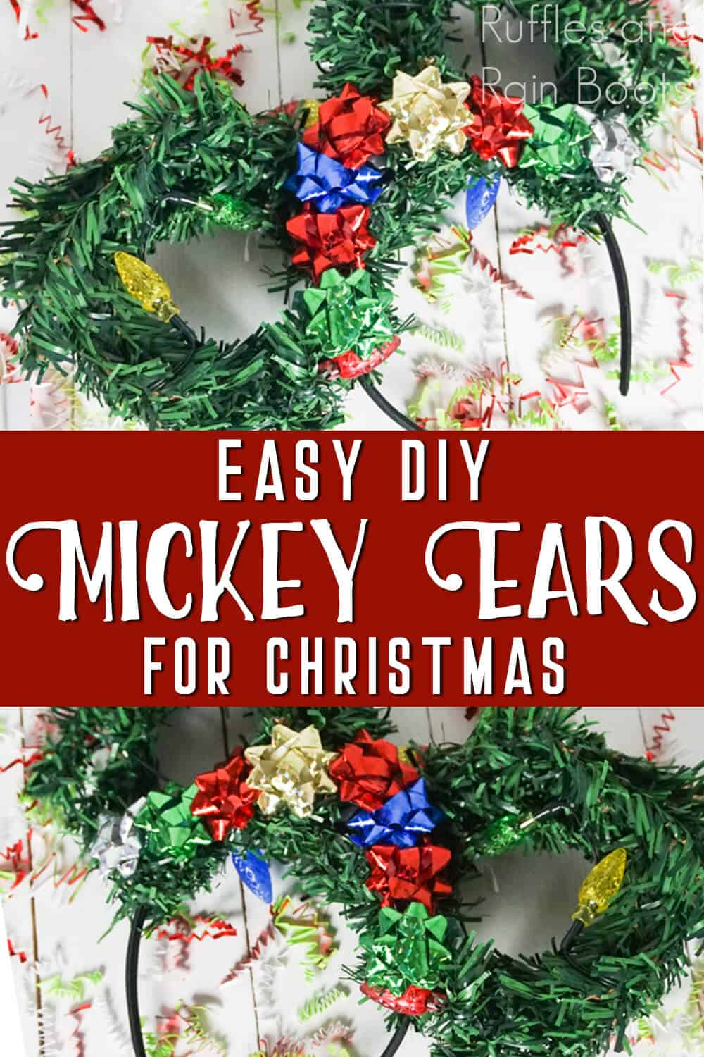 photo collage of wreath mickey ears with text which reads easy diy mickey ears for christmas