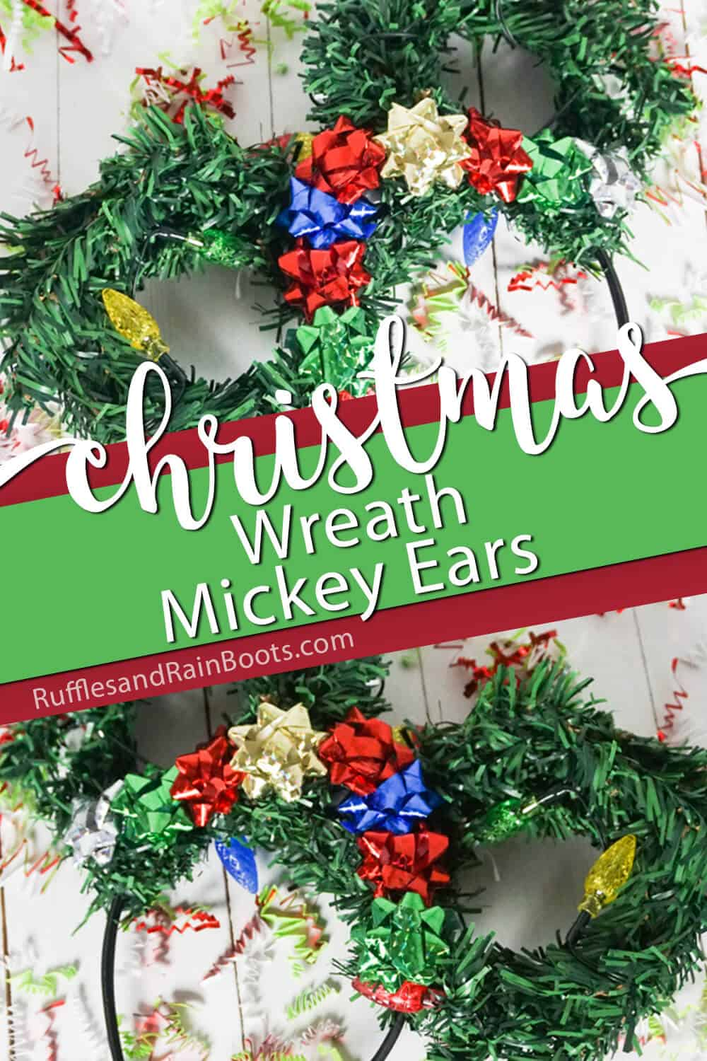 photo collage of wreath minnie ears for christmas with text which reads christmas wreath mickey ears