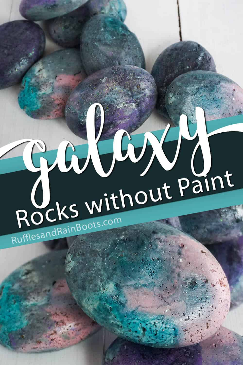 photo collage of milkyway painted rocks with text which reads galaxy rocks without painting
