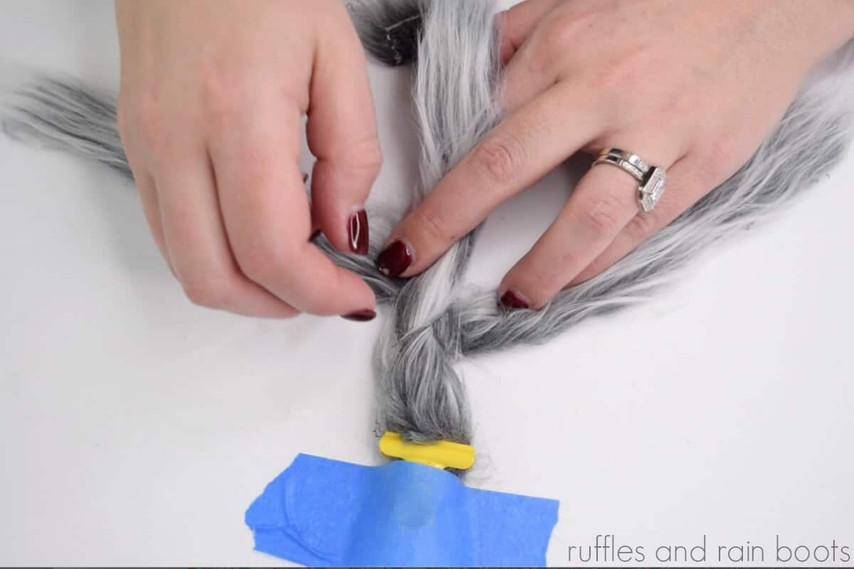learn how to braid faux fur for gnome braids