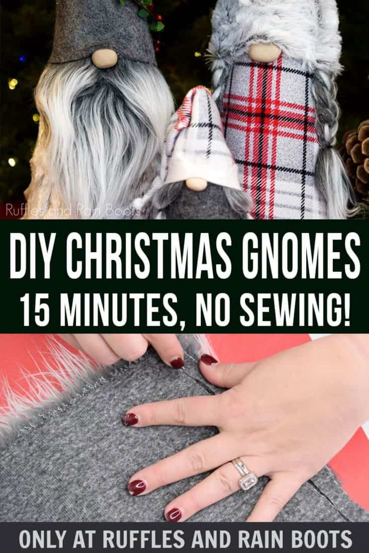 You can learn how to make a gnome the easiest way using this no sew cone gnome tutorial. I've made it simple, fast, and most of all fun to make a family of coordinating Christmas gnomes for your home or for others. #gnome #christmasgnome #gnometutorial #rufflesandrainboots
