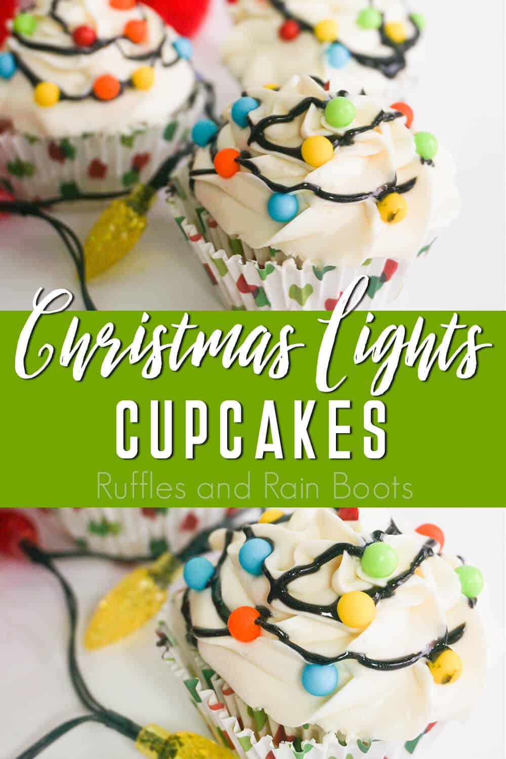 photo collage of cupcakes for christmas with text which reads christmas lights cupcakes