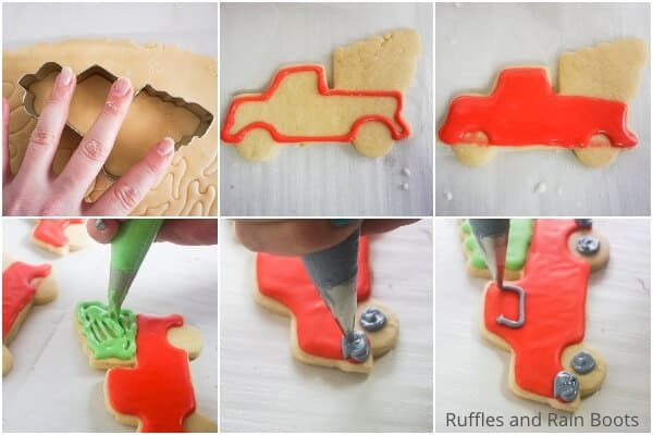 photo collage tutorial of how to make christmas farm truck cookies for a party