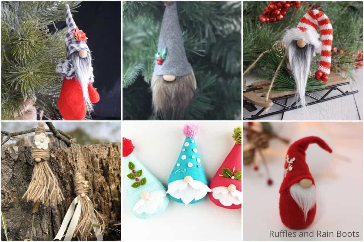 photo collage of how to make tomte ornaments for christmas