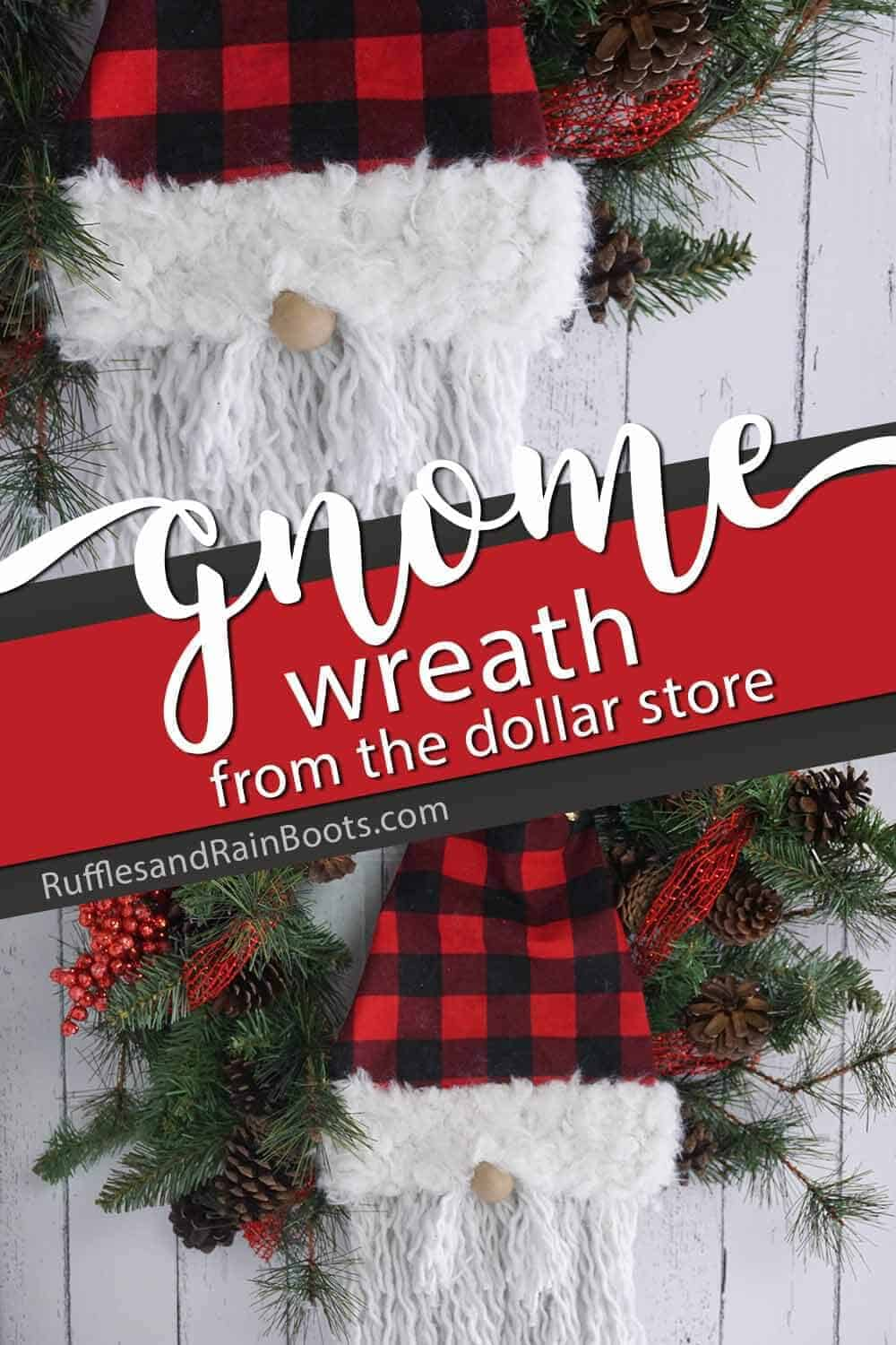 photo collage with text which reads gnome wreath from the dollar store