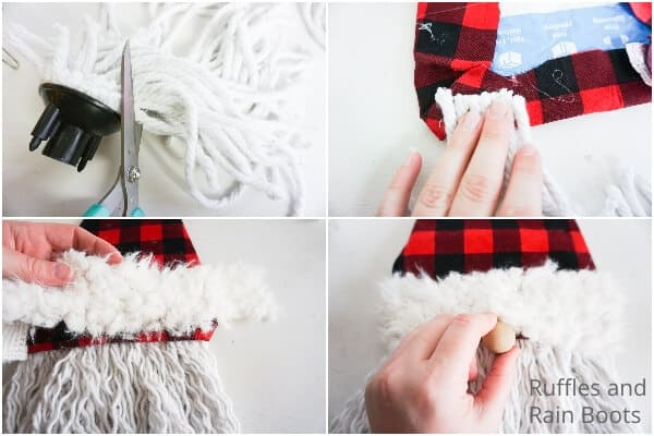 photo collage tutorial of how to make a gnome mop beard wreath