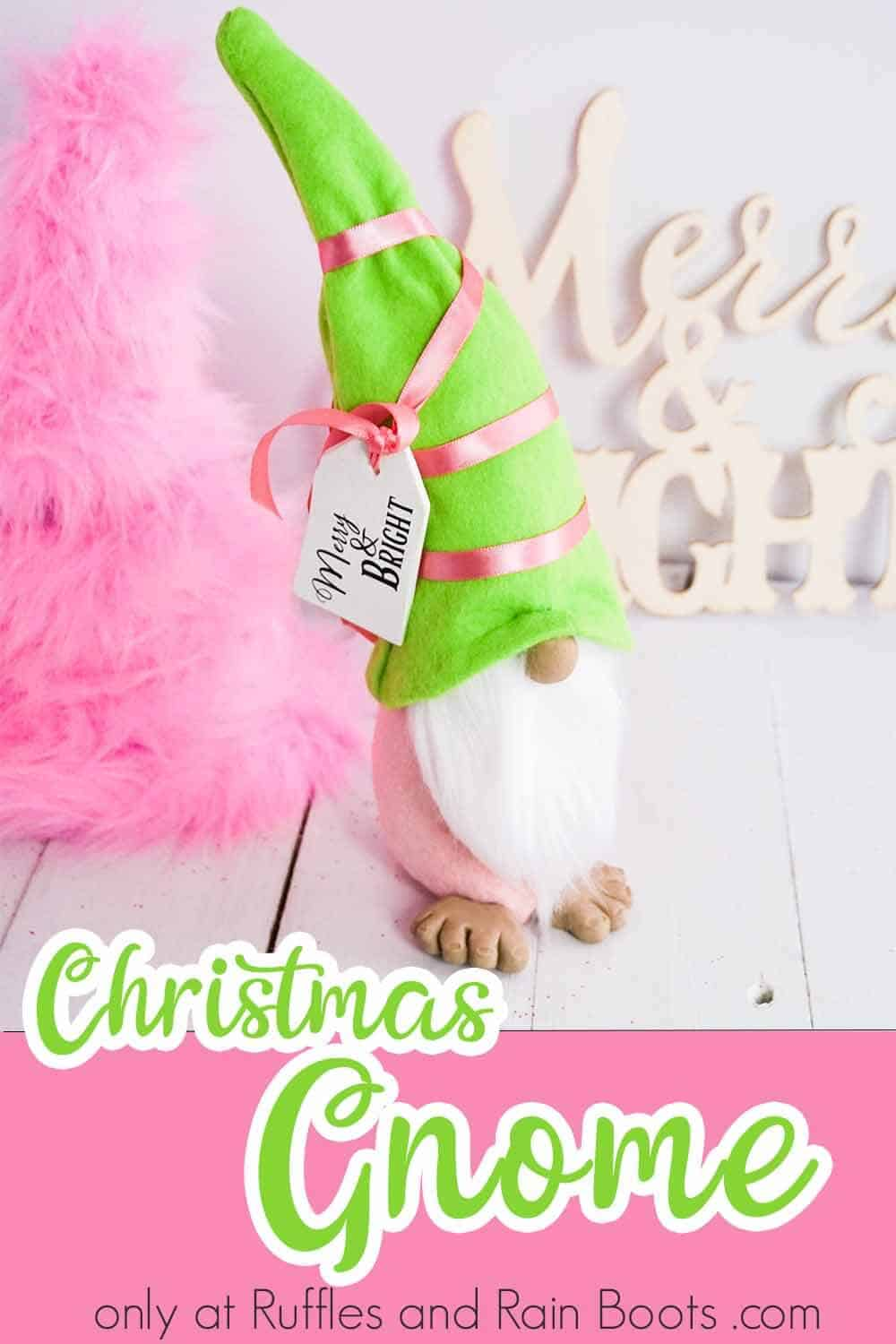 simple christmas tomte tutorial with text which reads christmas gnome with gift tag