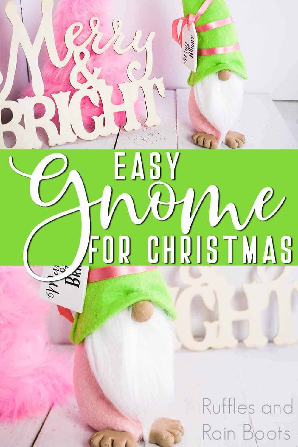 pink and green tomte with text which reads easy gnome for christmas
