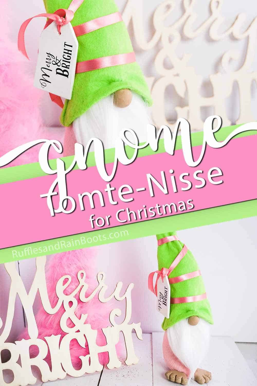 photo collage of pink and green bright tomte for christmas with text which reads gnome tomte nisse for christmas