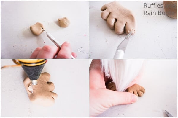 photo collage of how to make a gnome with toes