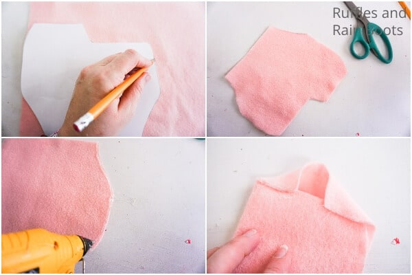 photo collage of how to make a nisse in pink and green for christmas