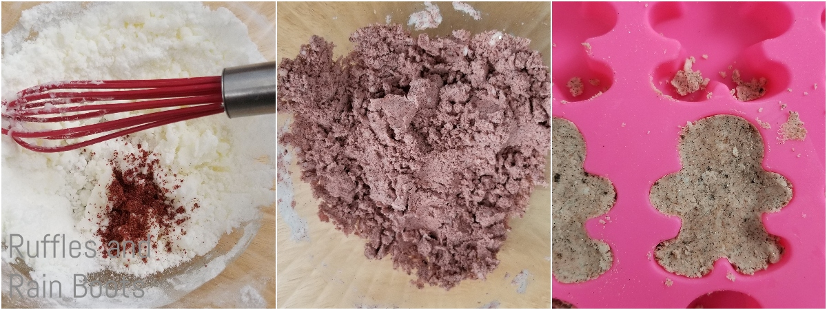 photo collage tutorial of how to make gingerbread man bath bombs