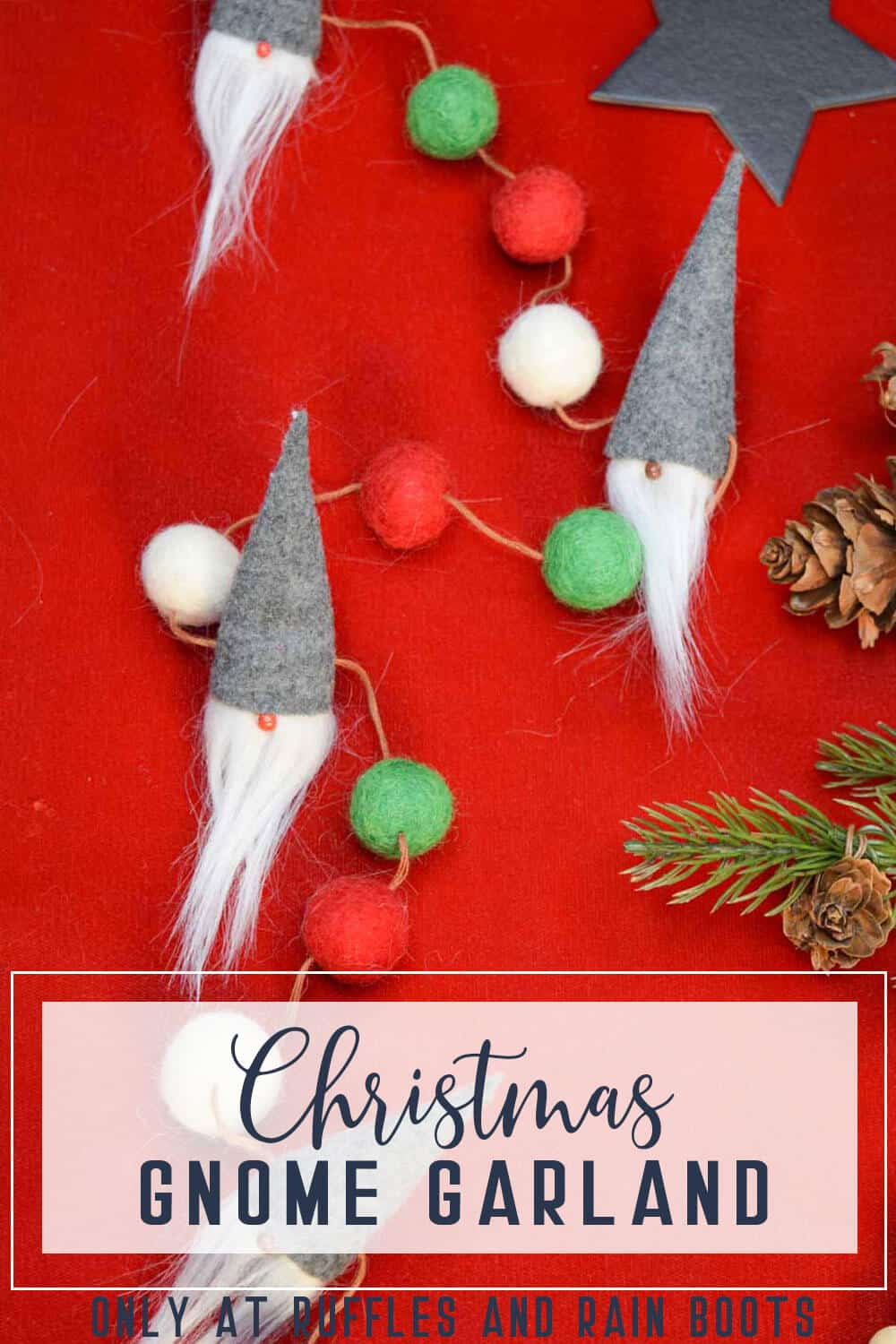 Adorable Christmas gnome garland DIY on a red background with text which reads chrismas gnome garland