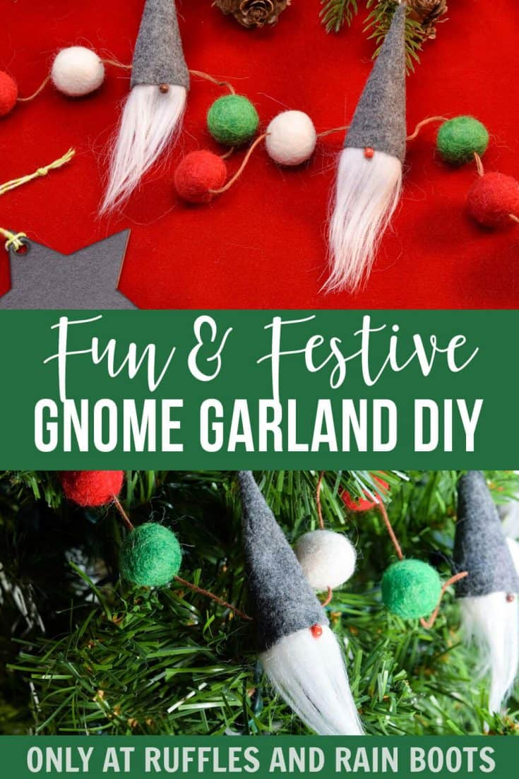 This is the coolest gnome Christmas garland I've ever seen! It's so easy and super cute! Click here to see how to make a gnome garland in minutes. #gnomegarland #christmasgarland #scandinaviangnome #tomte #tomten #nisse #nisser #rufflesandrainboots