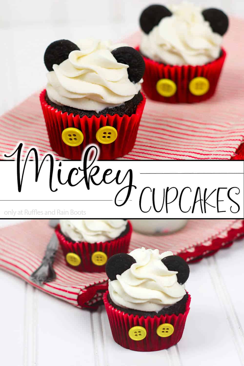 photo collage of mickey mouse cupcake decorating idea with text which reads mickey cupcakes