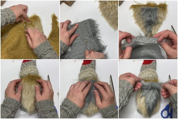 photo collage tutorial of how to make a sock gnome with boots