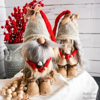These DIY Farmhouse Gnomes with Boots from Socks are CUTE!
