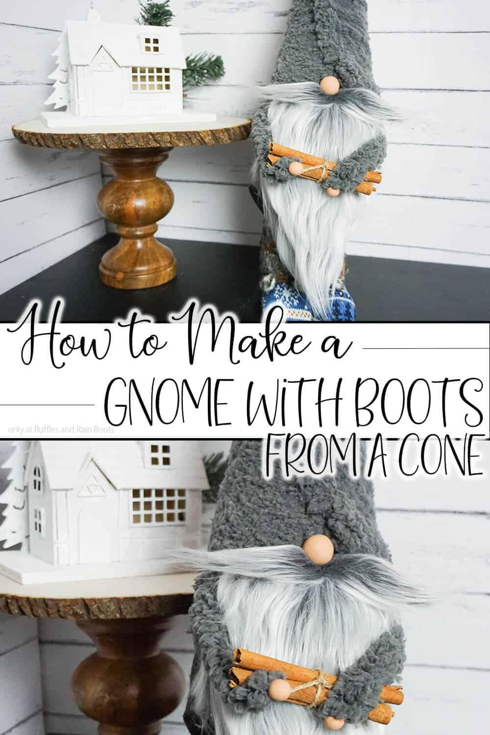 photo collage of heirloom quality gnome project with text which reads how to make a gnome with boots from a cone