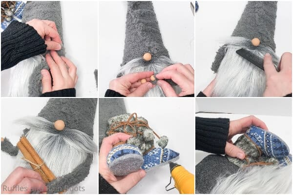 photo collage tutorial of how to make a gnome from a foam cone with boots