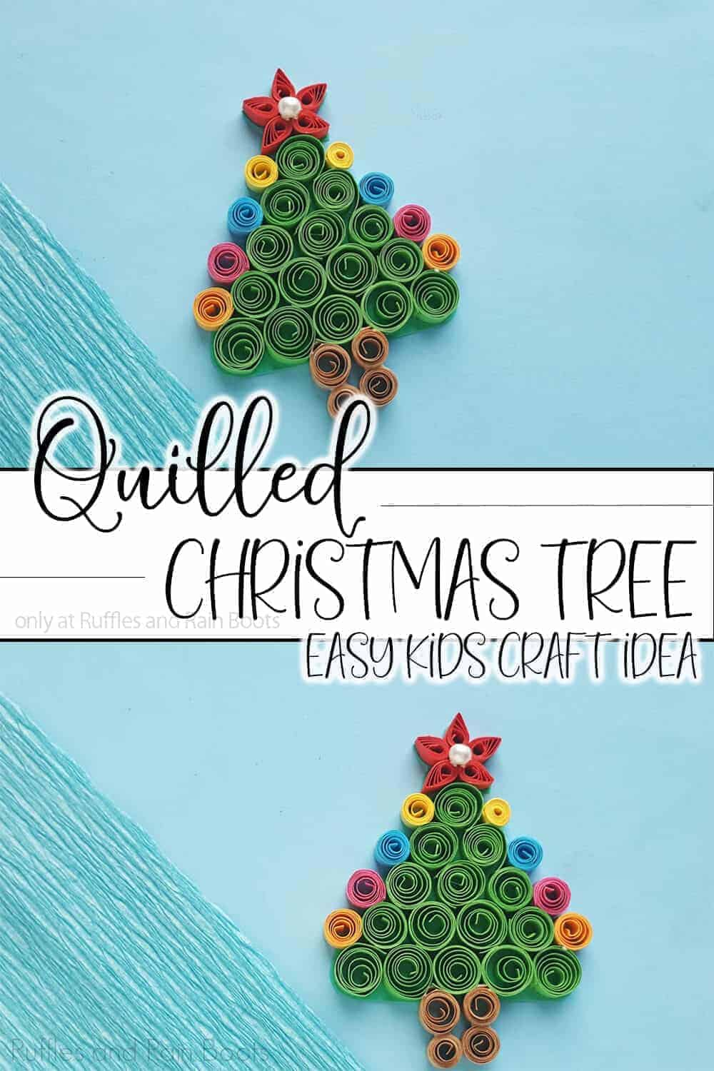 photo collage of kid-made paper craft with text which reads quilled christmas tree easy kids craft idea