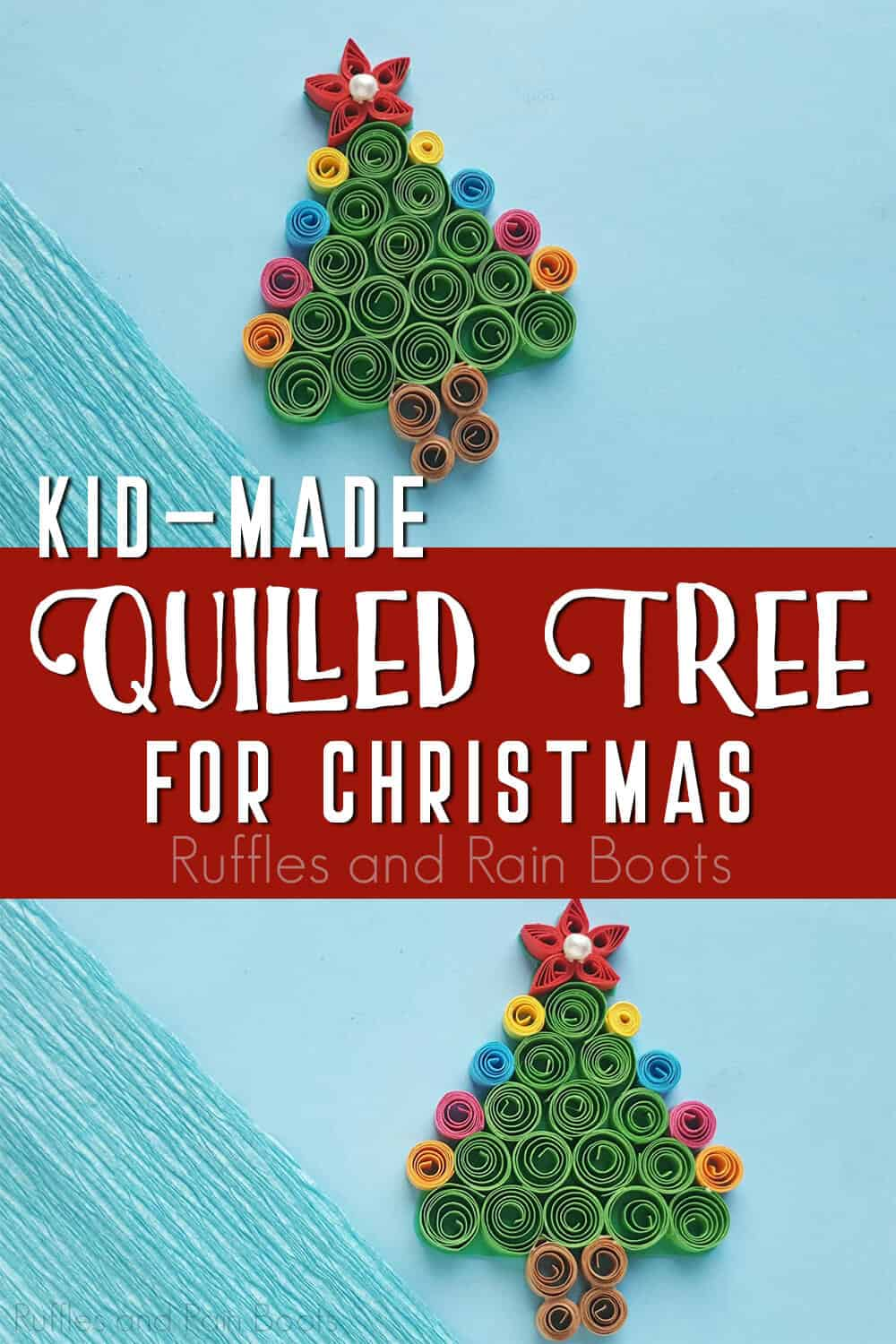 photo collage of kids paper craft with text which reads kid-made quilled tree for christmas