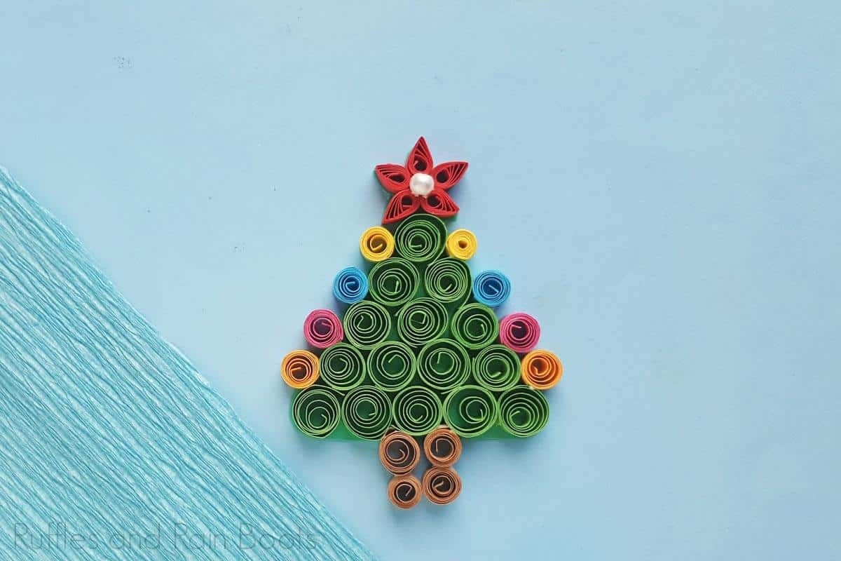 kid-made quilled christmas tree