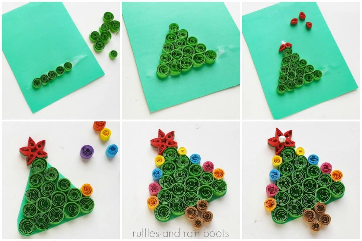 photo collage tutorial of How to Make a Quilled Christmas Tree Collage