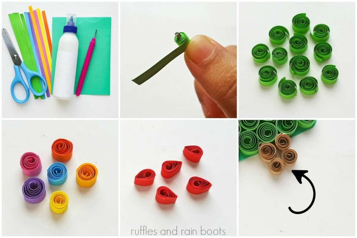 photo collage tutorial of How to Make a Quilled Christmas Tree Collage kid craft