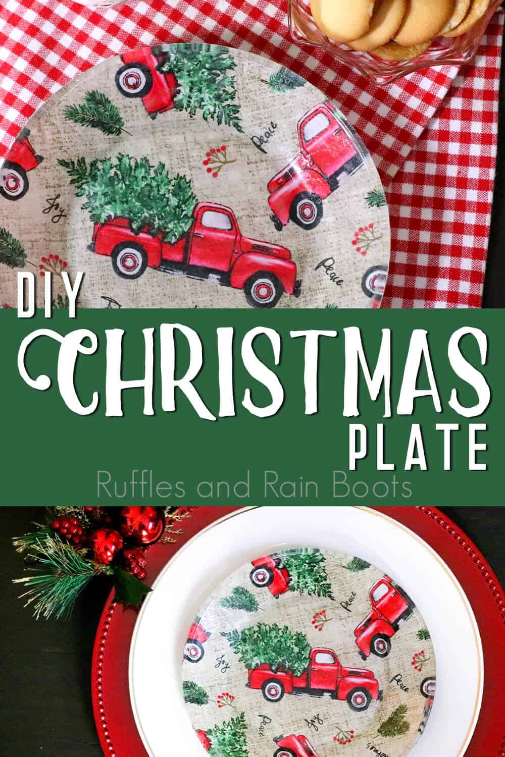 photo collage of christmas craft idea with text which reads diy christmas plate