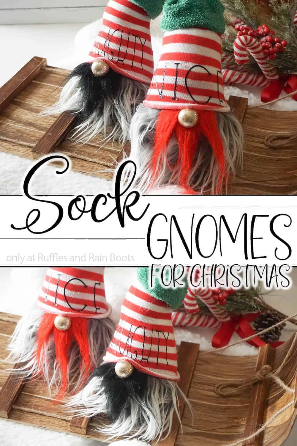 photo collage of easy tomte made from a sock with text which reads sock gnomes for christmas