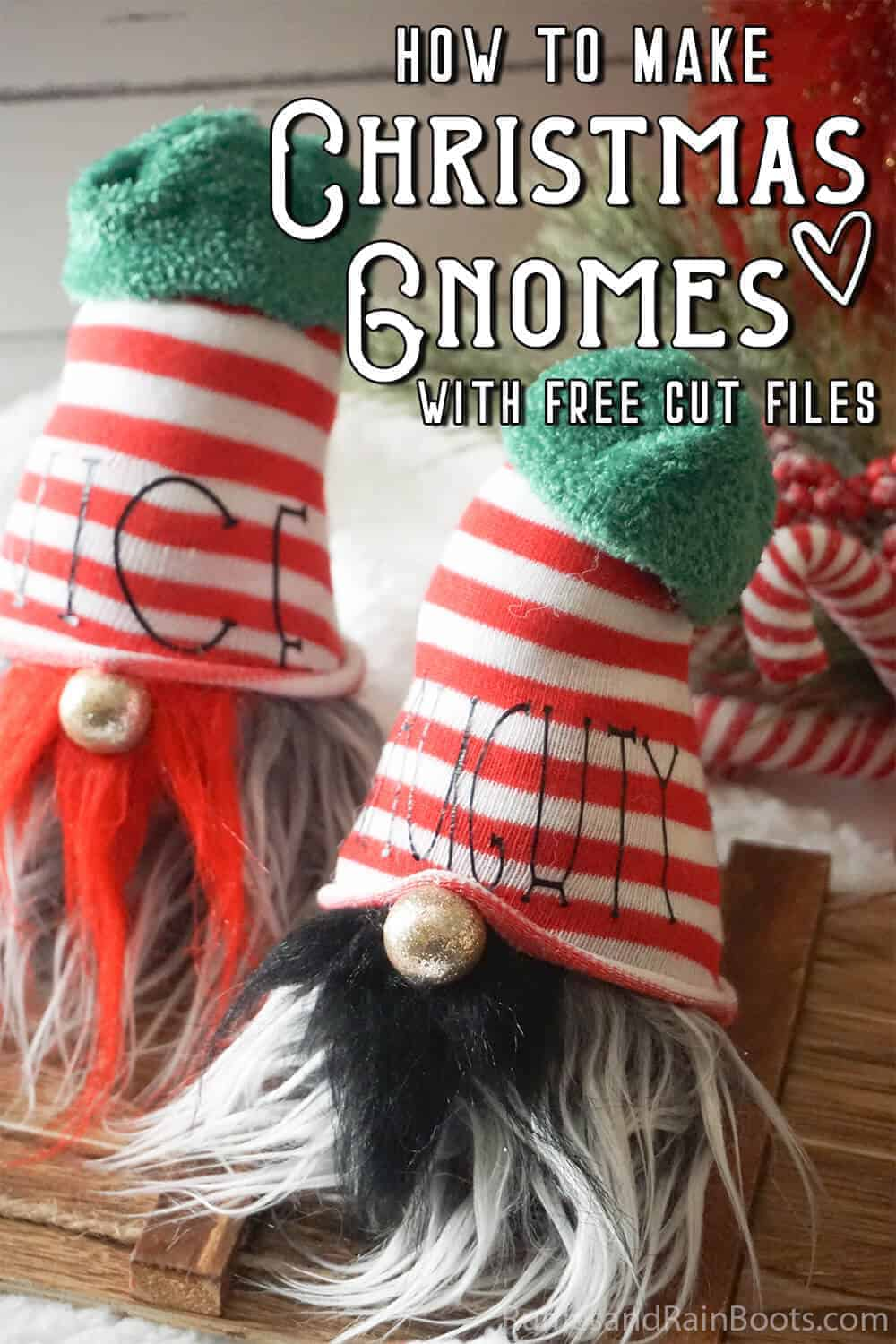 two naughty and nice gnomes with text which reads how to make christmas gnomes with a free cut file