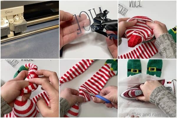 photo collage tutorial of how to make a christmas sock gnome