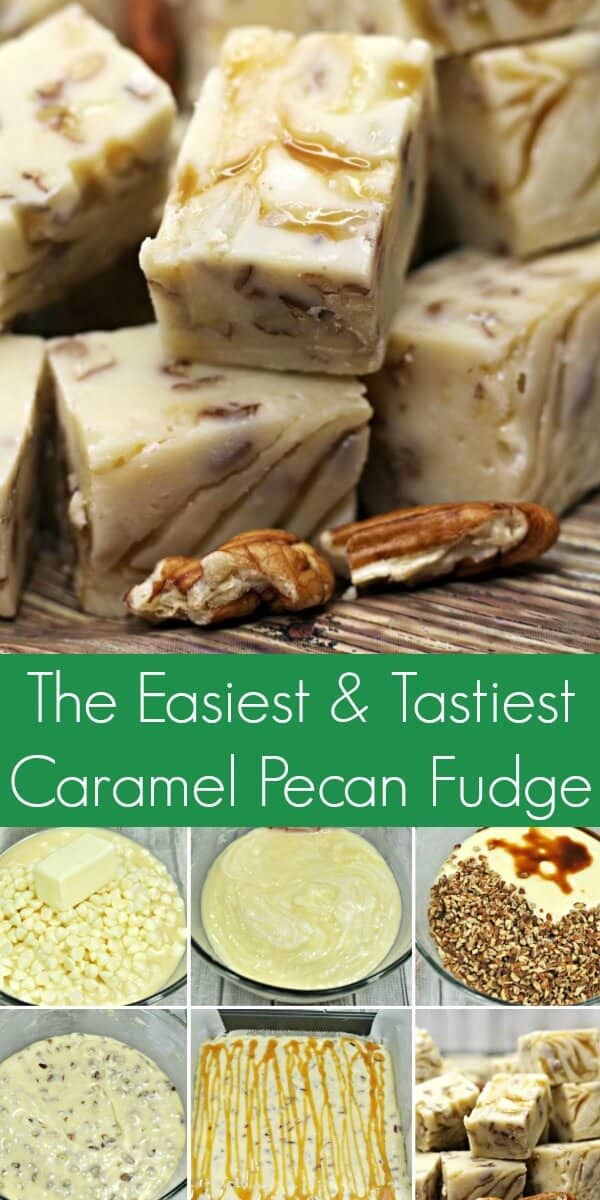 photo collage of how to make easy caramel pecan fudge