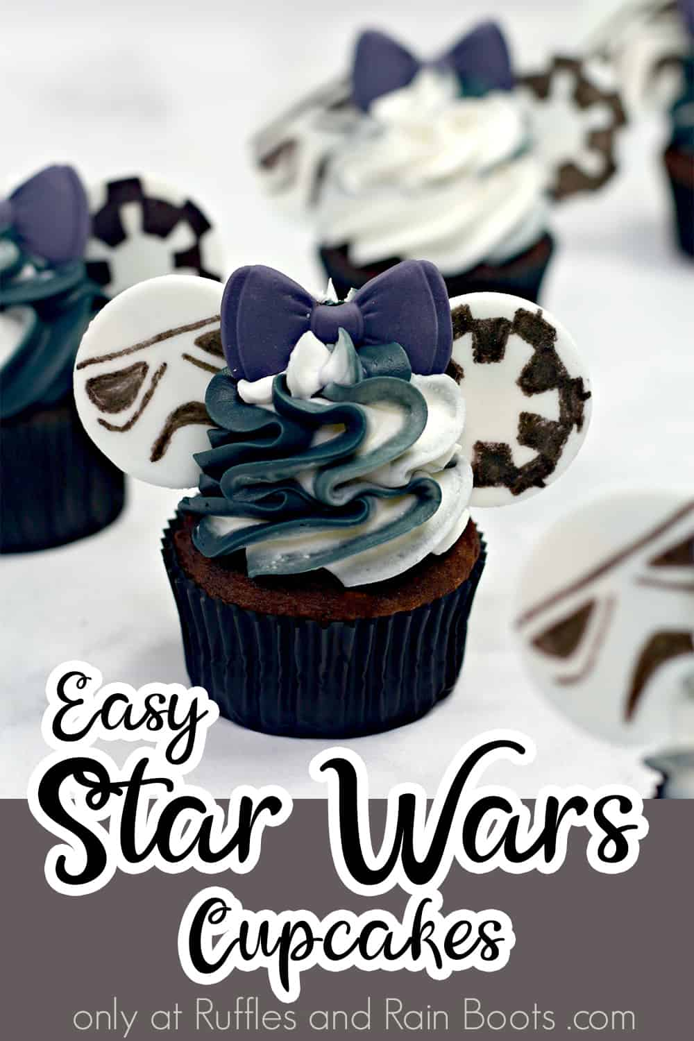 easy cupcakes for a star wars party with text which reads easy star wars cupcakes