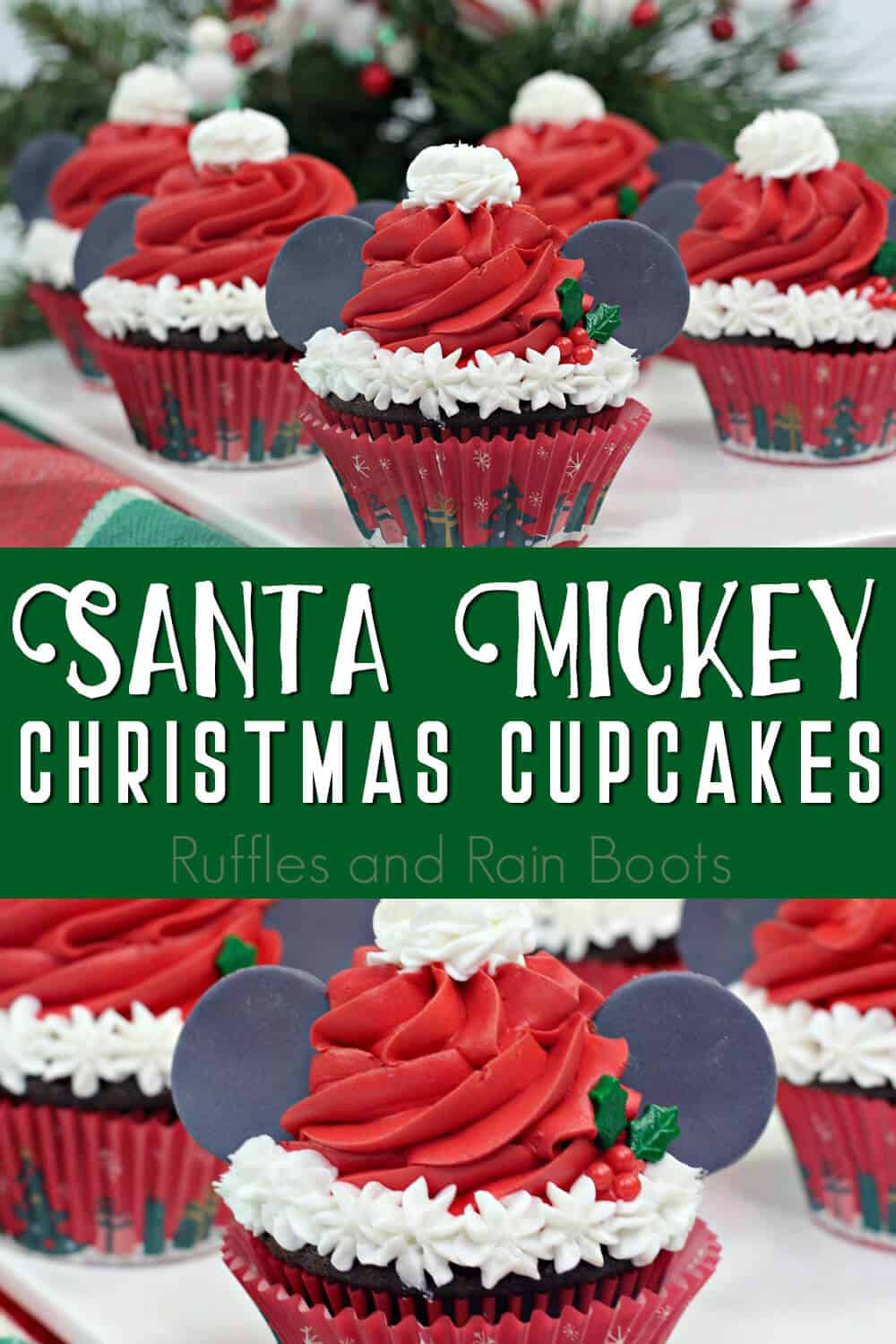 photo collage of how to make santa mickey christmas cupcakes with text which reads santa mickey christmas cupcakes