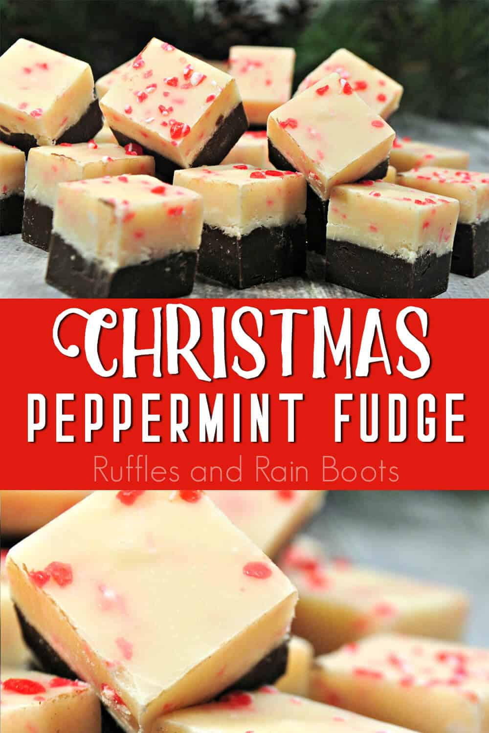 photo collage of easy holiday fudge recipe with text which reads christmas peppermint fudge