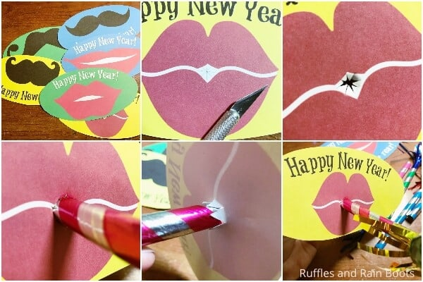 photo collage tutorial of how to make a new years party blower free printable kids craft for new years