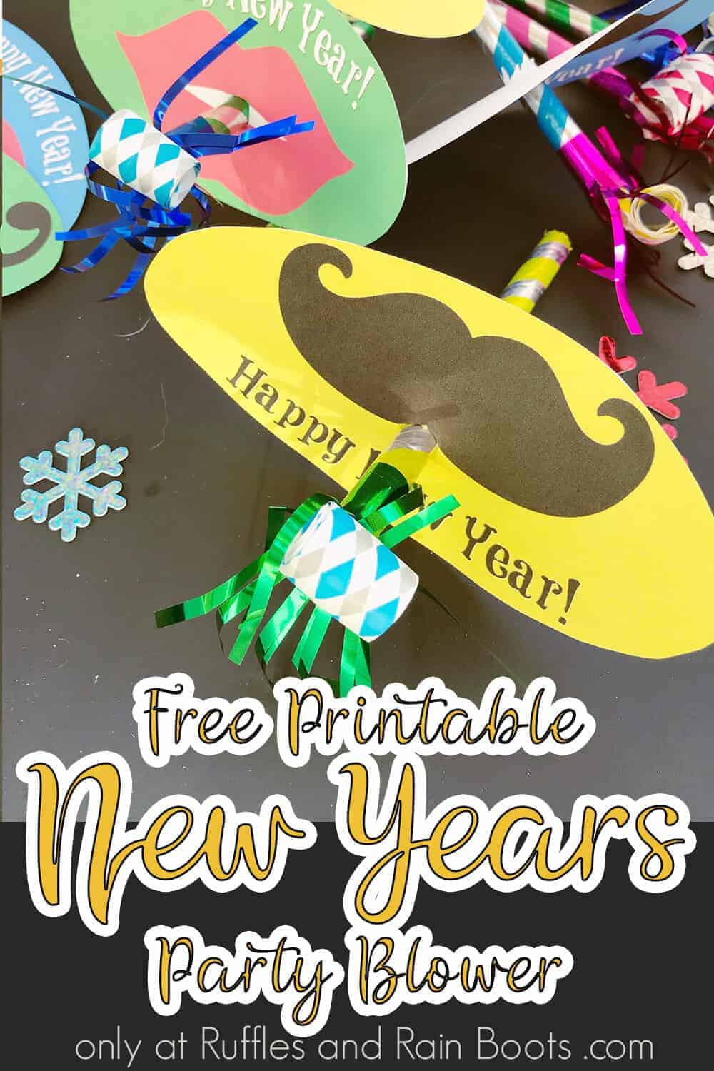 closeup of easy kids craft for new years with text which reads free printable new years party blower