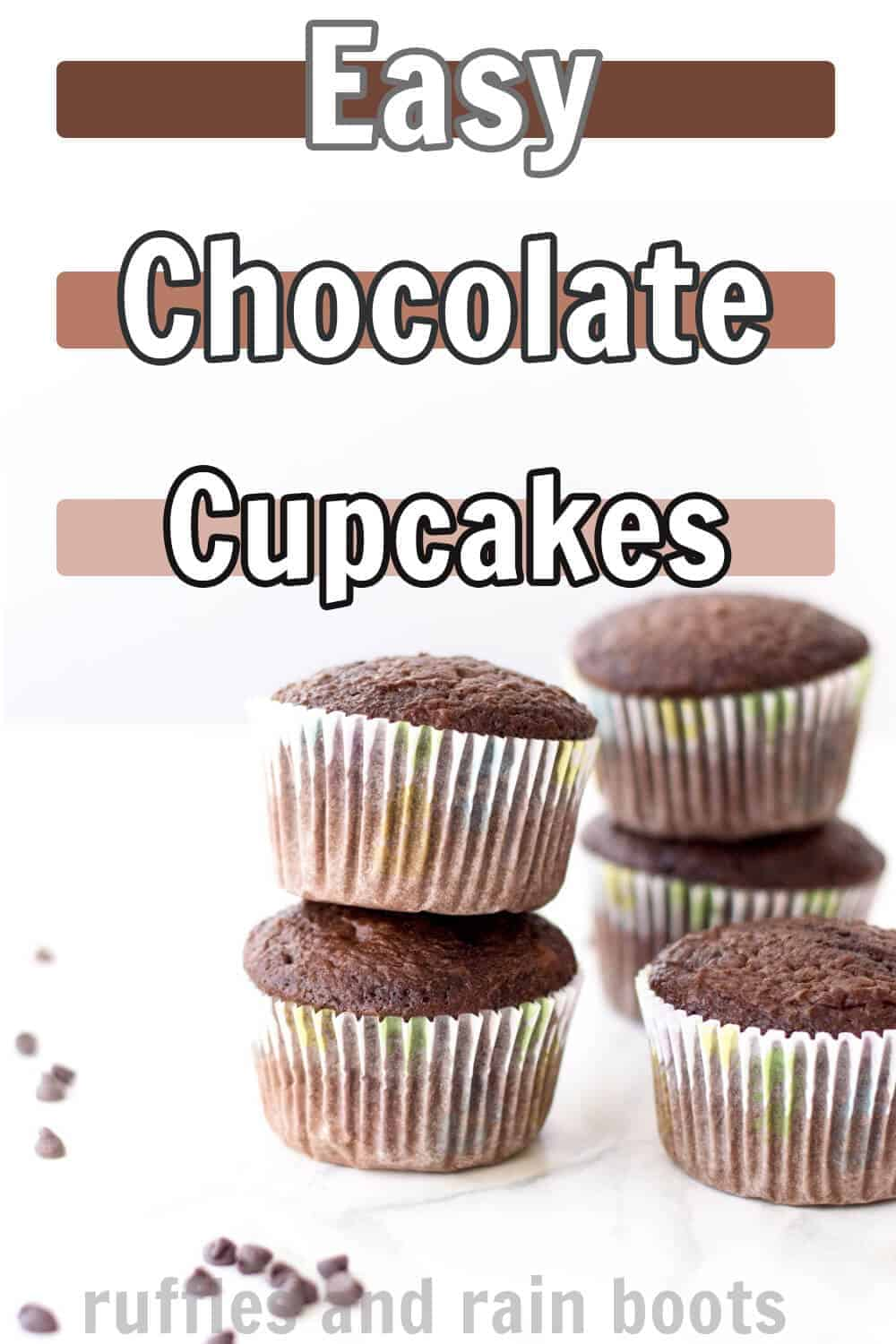 side view of a chocolate cupcake recipe with text which reads easy chocolate cupcakes