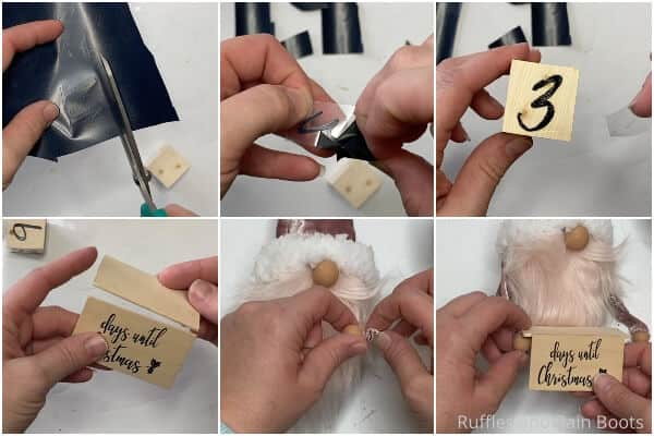 photo collage tutorial of how to make a countdown to christmas gnome