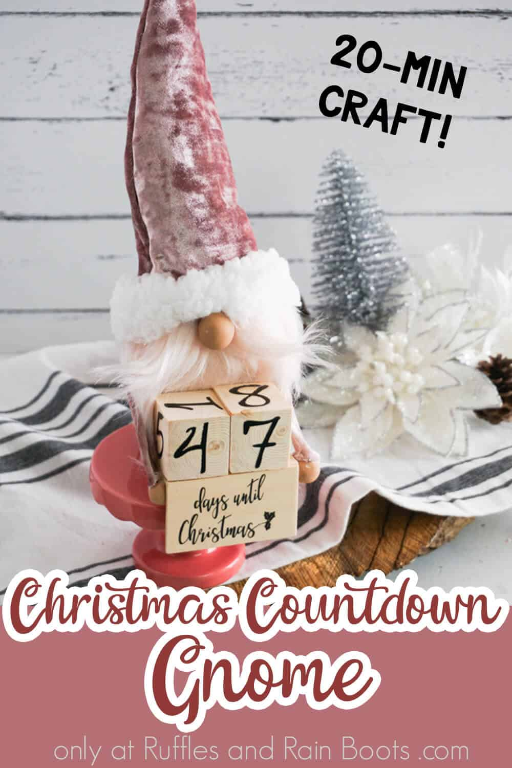 front view of no-sew christmas gnome pattern with text which reads christmas countdown gnome 20-min craft