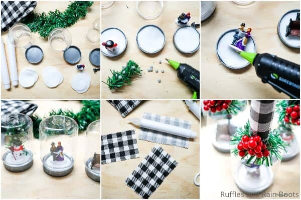 photo collage tutorial for how to make a snow globe with dollar store materials