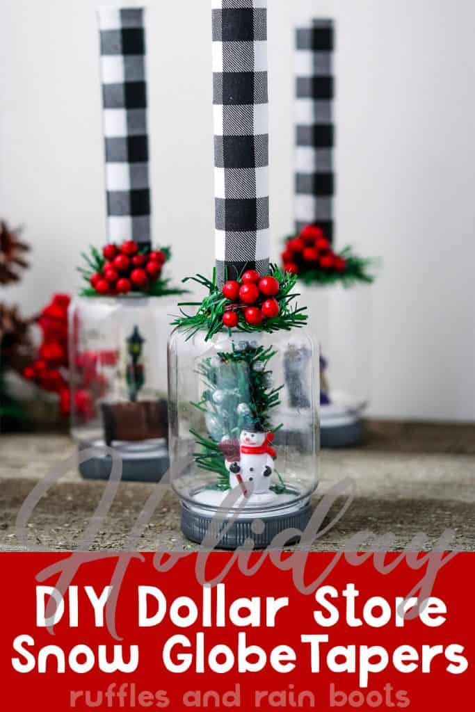 diy dollar store cloche candle holder with text which reads holiday diy dollar store snow globe candle tapers