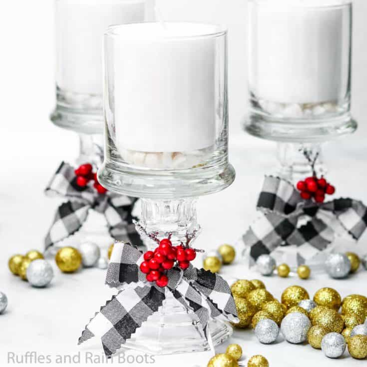 how to make christmas candle holders from the dollar store