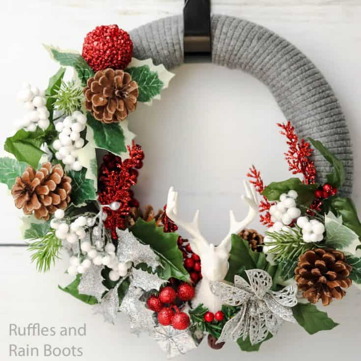 how to make a sweater wrapped wreath for christmas