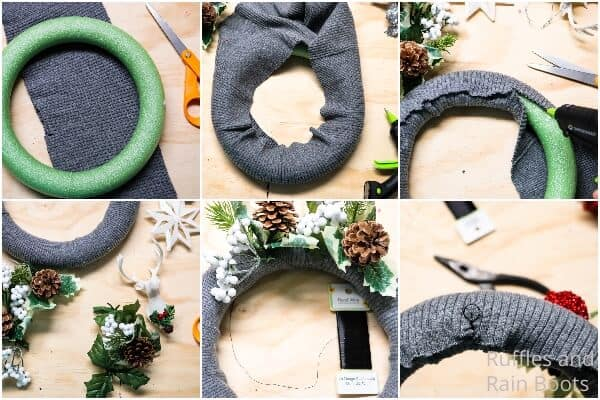 photo collage tutorial of how to make a sweater wreath for christmas