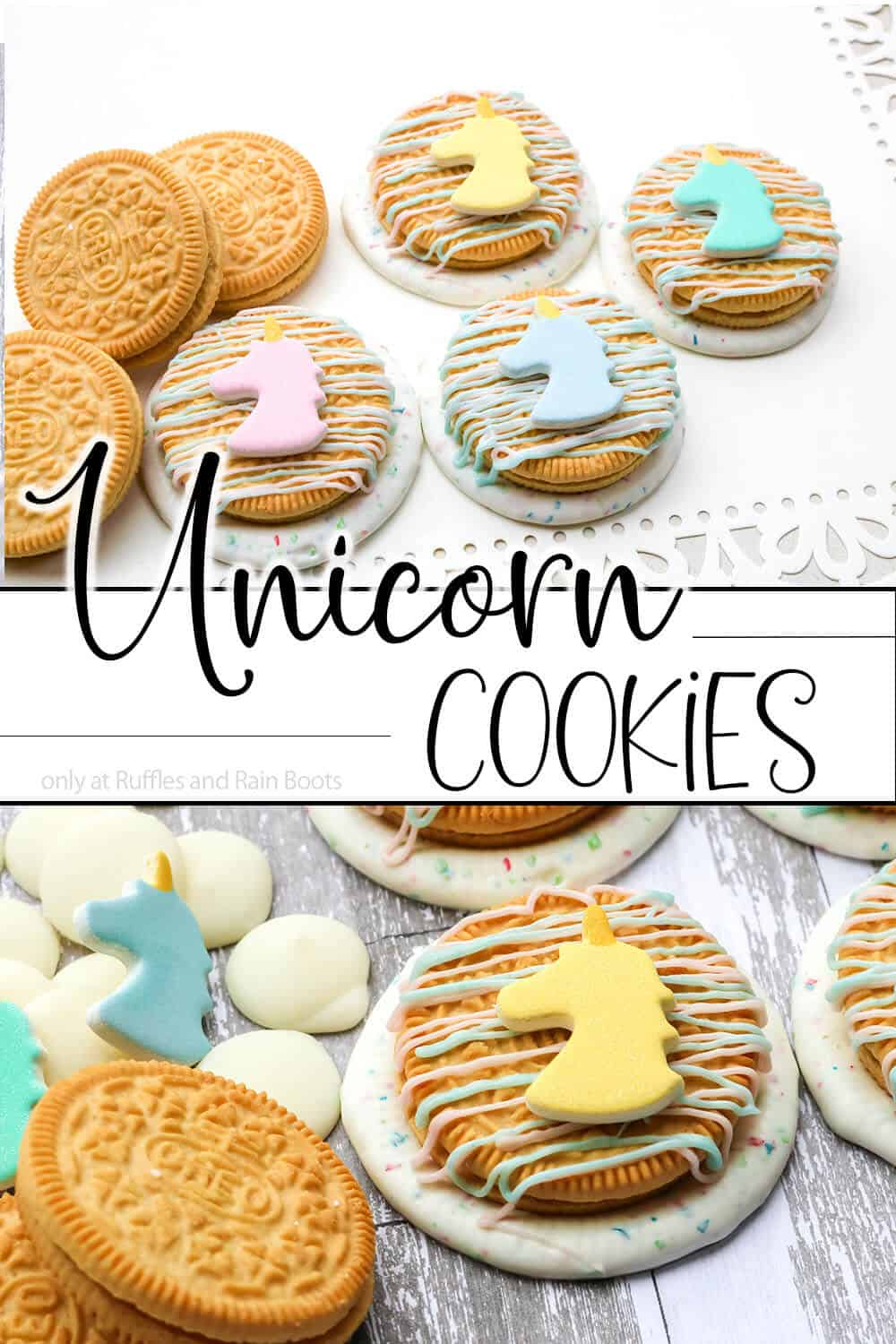 photo collage of OREO cookies decorated with chocolate and unicorn sprinkles with text which reads unicorn cookies