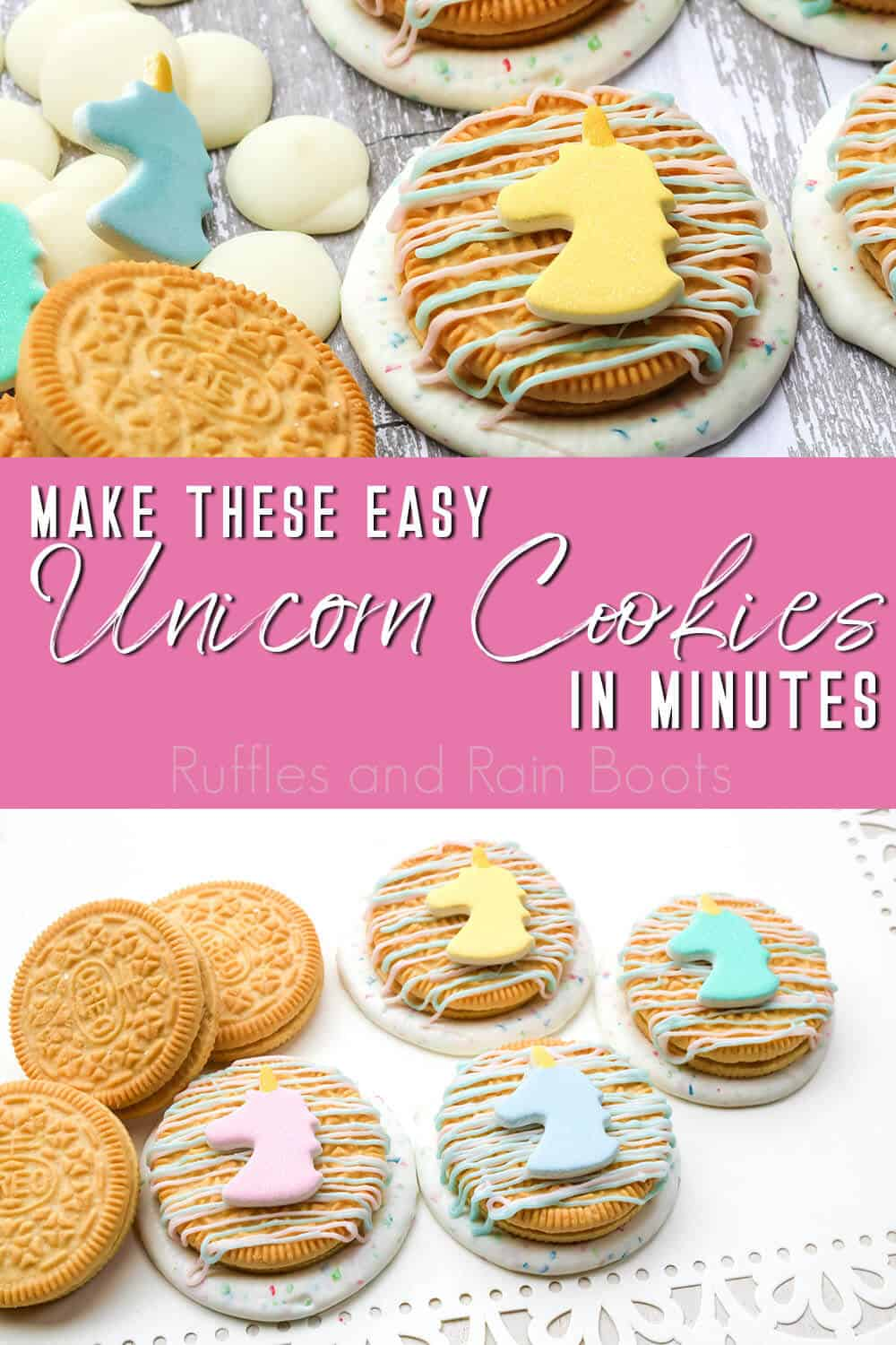 photo collage of unicorn party treats with text which reads make these easy unicorn cookies in minutes