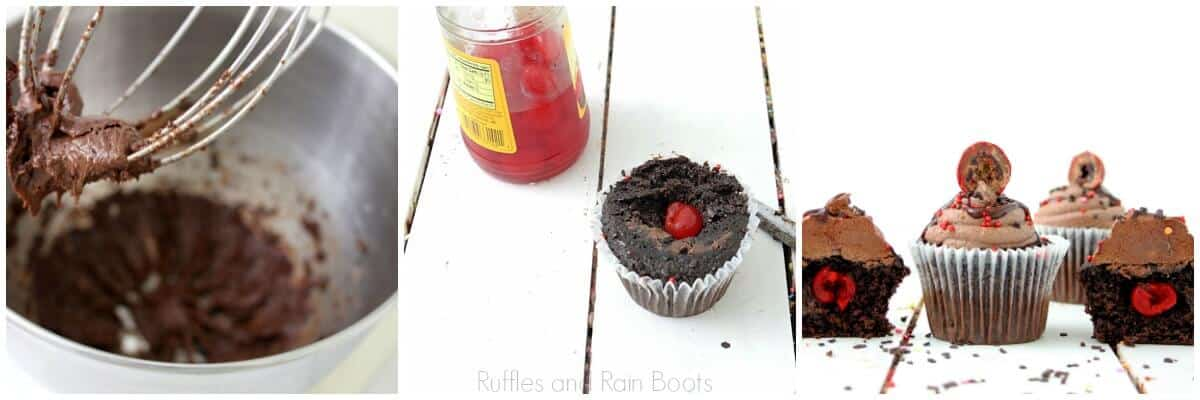 photo collage tutorial of How to make chocolate cherry cupcakes recipe