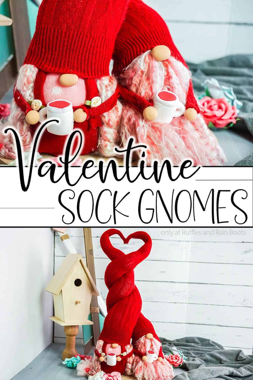 photo collage of tomten couple with text which reads valentines sock gnomes